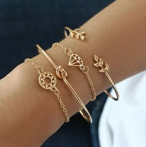 4 pcs elegant women's Crystal Rose bangle bracelet